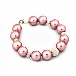 Vòng tay ngoc trai hồng charm bạc Ý 925_290K
